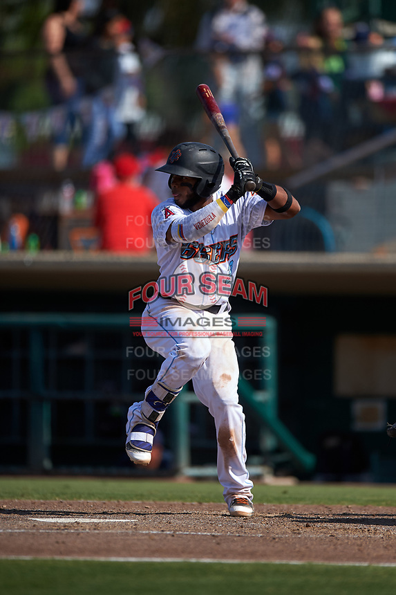 Inland Empire 66ers shortstop Luis Rengifo (3) at bat during a California League game against the Lancaster JetHawks at San Manuel Stadium on May 20, 2018 in San Bernardino, California. Inland Empire defeated Lancaster 12-2. (Zachary Lucy/Four Seam Images)