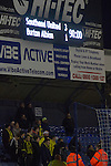 Southend United 1 Burton Albion 1, 22/02/2016. Roots Hall, League One. The electronic scoreboard shows the score in the final minute as Southend United took on Burton Albion in a League 1 fixture at Roots Hall. Founded in 1906, Southend United moved into their current ground in 1955, the construction of which was funded by the club's supporters. Southend won this match by 3-1, watched by a crowd of 6503. Photo by Colin McPherson.