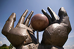 A statue of hands at the Statue Park near Budapest. The communist era Statue Park outside of Budapest has many statues that come from the old communist era in Hungary.