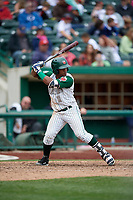 Fort Wayne TinCaps third baseman Eguy Rosario (1) at bat during a game against the Wisconsin Timber Rattlers on May 10, 2017 at Parkview Field in Fort Wayne, Indiana.  Fort Wayne defeated Wisconsin 3-2.  (Mike Janes/Four Seam Images)