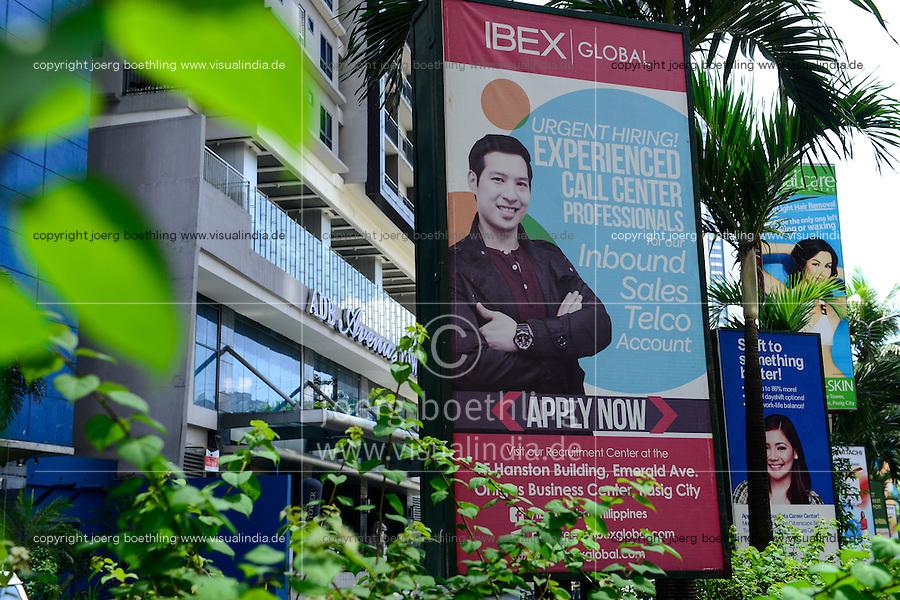 PHILIPPINES, Manila, Pasig City, ad for job offer as Callcenter agent / PHILIPPINEN, Manila, Pasig City, Stellenanzeige fuer callcenter Mitarbeiter