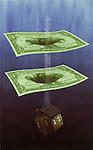 Illustrative image of model home falling through paper bills representing loss in real estate business