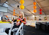 Feb 8, 2017; Pomona, CA, USA; NHRA funny car driver Courtney Force waits for a photo shoot to begin during media day at Auto Club Raceway at Pomona. Mandatory Credit: Mark J. Rebilas-USA TODAY Sports