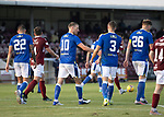 Arbroath v St Johnstone…21.07.21  Gayfield Park<br />David Wotherspoon celebrates his goal with Reece Devine<br />Picture by Graeme Hart.<br />Copyright Perthshire Picture Agency<br />Tel: 01738 623350  Mobile: 07990 594431