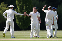 R Rayner of Billericay celebrates with his team mates after taking the wicket of C Sains during Billericay CC vs Hornchurch CC (batting), Hamro Foundation Essex League Cricket at the Toby Howe Cricket Ground on 12th June 2021