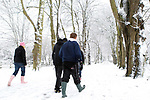 School children enjoying another day off make their way through the snow in Caldicot.<br />