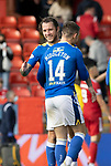 Aberdeen v St Johnstone…18.09.21  Pittodrie    SPFL<br />Stevie May celebrates at full time with Glenn Middleton<br />Picture by Graeme Hart.<br />Copyright Perthshire Picture Agency<br />Tel: 01738 623350  Mobile: 07990 594431