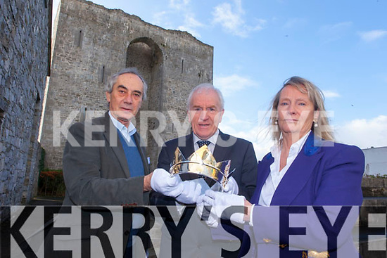 Lord Inchiquin, Minister for the Diaspora Jimmy Deenihan and Alison McCormick, with the Brian Boru Millennium Crown at the Seanchai centre on Friday, which has been made specifically for the Jewels For Cures fundraiser.