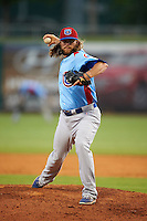Tennessee Smokies pitcher P.J. Francescon (20) delivers a pitch during a game against the Montgomery Biscuits on May 25, 2015 at Riverwalk Stadium in Montgomery, Alabama.  Tennessee defeated Montgomery 6-3 as the game was called after eight innings due to rain.  (Mike Janes/Four Seam Images)