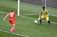 Washington Freedom's Abby Wambach (20) attempts a shot on LA Sol goalkeeper Karina LeBlanc. The LA Sol defeated the Washington Freedom 2-0 in the opening game of Womens Professional Soccer at Home Depot Center stadium on Sunday March 29, 2009.  .