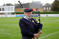 The London Scottish piper playing during the Championship Cup match between London Scottish Football Club and Nottingham Rugby at Richmond Athletic Ground, Richmond, United Kingdom on 28 September 2019. Photo by Carlton Myrie / PRiME Media Images
