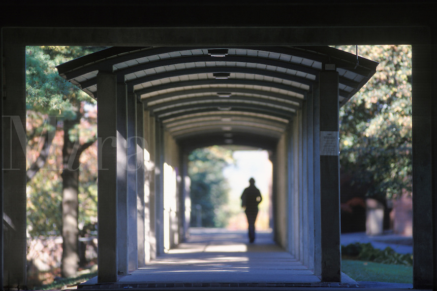 Silhouetted college student walking under covered walkway on campus.