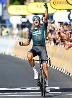 8th July 2021; Nimes, France;POLITT Nils (GER) of BORA - HANSGROHE celebrates the win during stage 12 of the 108th edition of the 2021 Tour de France cycling race, a stage of 159,4 kms between Saint-Paul-Trois-Chateaux and Nimes.