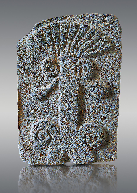 9th century BC stone Neo-Hittite/ Aramaean Orthostats from Palace Temple of the Aramaean city of Tell Halaf in northeastern Syria close to the Turkish border. The Orthostats are in a Neo Hittite style and depict mythical animals and figures that have magical properties. Pergamon Museum, Berlin . Museum Inv No: VA  8856