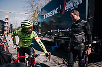preparations by Team Trek-Segafredo the day before the 109th Milano-Sanremo 2018