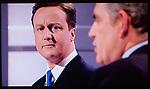 The First Television Election Debate David Cameron Gordon Brown April 15th 2010. Manchester England