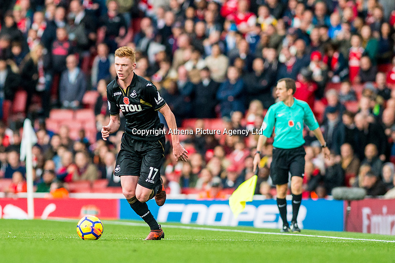 Sam Clucas of Swansea City in action  ahead of the Premier League match between Arsenal and Swansea City at Emirates Stadium, London, England, UK. Saturday 28 October 2017