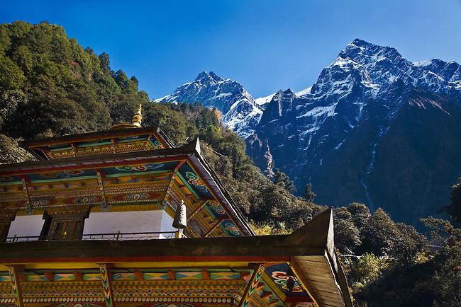 TIBETAN BUDDHIST MONASTERY with mountain peaks - NEPAL HIMALAYA