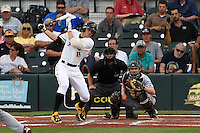 Bradenton Marauders outfielder Austin Meadows (13) at bat in front of catcher Chadd Krist and umpire Joe George during a game against the Jupiter Hammerheads on April 17, 2015 at McKechnie Field in Bradenton, Florida.  Bradenton defeated Jupiter 11-6.  (Mike Janes/Four Seam Images)