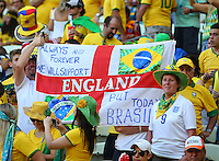 England fans inside the Estadio Castelao pledge their support to Brazil for the match