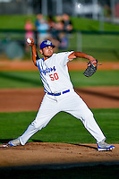 Ogden Raptors starting pitcher Willian Soto (50) delivers a pitch to the plate against the Billings Mustangs in Pioneer League action at Lindquist Field on August 12, 2016 in Ogden, Utah. Billings defeated Ogden 7-6. (Stephen Smith/Four Seam Images)