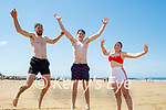 Jumping for joy on Ballybunion beach on Sunday, l to r: Gerard Brown, Conor O'Dwyer and Kelly Brown.