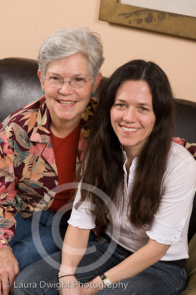 portrait of mother and adult daughter vertical Caucasian