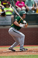 Baylor Bears third baseman Cal Towey #18 heads to first base during the NCAA Regional baseball game against Oral Roberts University on June 3, 2012 at Baylor Ball Park in Waco, Texas. Baylor defeated Oral Roberts 5-2. (Andrew Woolley/Four Seam Images)