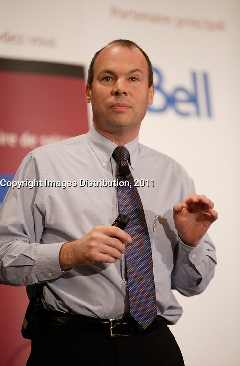 Montreal  (Quebec) CANADA - Nov 21 2011 -Marc Dutil, VP, Canam-Manac Group at the Canadian Club of Montreal's podium