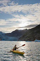 Kayaker in Nellie Juan Lagoon, Prince William Sound, Chugach National Forest, Kenai Peninsula, southcentral, Alaska.