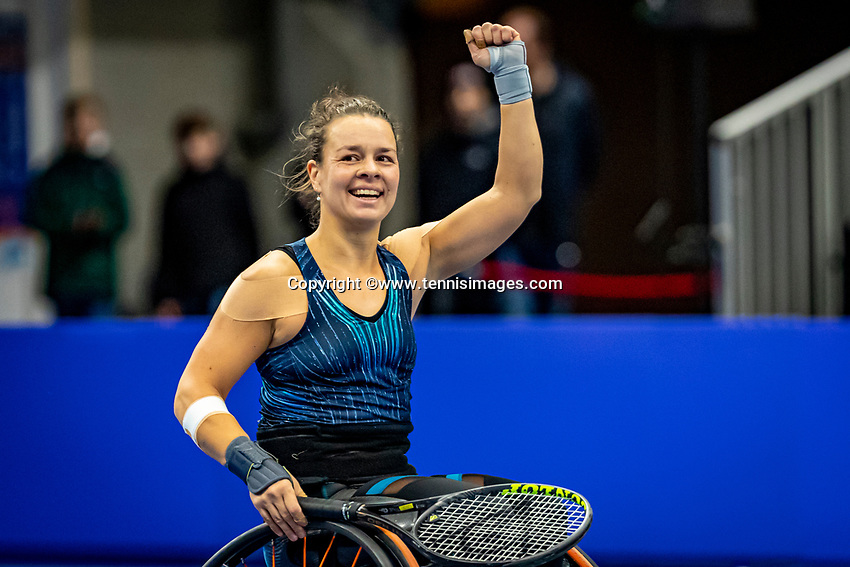 Alphen aan den Rijn, Netherlands, December 22, 2019, TV Nieuwe Sloot,  NK Tennis, Final womens wheelchair,  Marjolein Buis (NED) celebrates her win and is Dutch champion<br /> Photo: www.tennisimages.com/Henk Koster