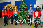 Ellie Boyle, Fiona O'Connor, Ciara Casey, Jessie Grealish and Melania Baran,  Presentation Secondary School Tralee students celebrating Christmas Jumper Day on Friday.