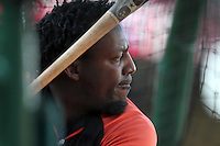 Baltimore Orioles designated hitter Vladimir Guerrero #27 before a game against the Los Angeles Angels at Angel Stadium on August 20, 2011 in Anaheim,California. Los Angeles defeated Baltimore 9-8.(Larry Goren/Four Seam Images)