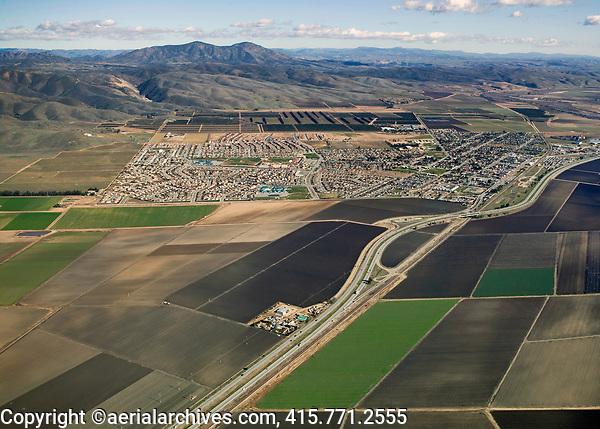 aerial photograph of fertile farmland the Salinas Valley , Highway 101, Monterey County, California