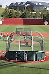 A view from behind home plate, looking out towards the center field fence and the Student Recreation Center in the background at Bailey-Brayton Field, the baseball home of the Washington State Cougars baseball team, on the campus of Washington State University in Pullman, Washington.