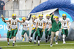 North Dakota State Bison players enter the field before the FCS Championship game between the North Dakota State Bison and the Illinois State Redbirds at the Toyota Stadium in Frisco, Texas. North Dakota defeats Illinois 29 to 27.