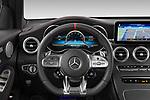 Car pictures of steering wheel view of a 2021 Mercedes Benz GLC AMG-43 5 Door SUV Steering Wheel