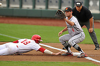 Maryland Terrapins first baseman Kevin Biondic (41) takes pickoff throw during the Big Ten Tournament game against the Indiana Hoosiers at TD Ameritrade Park on May 25, 2016 in Omaha, Nebraska.  Maryland  won 5-3.  (Dennis Hubbard/Four Seam Images)