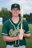 Greensboro Grasshoppers outfielder Brian Miller (26) poses for a photo prior to the game against the Kannapolis Intimidators at Kannapolis Intimidators Stadium on August 13, 2017 in Kannapolis, North Carolina.  The Grasshoppers defeated the Intimidators 4-1 in 10 innings in the completion of a game suspended on August 12, 2017.  (Brian Westerholt/Four Seam Images)