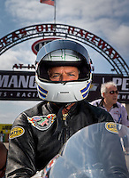 Sept. 1, 2013; Clermont, IN, USA: NHRA pro stock motorcycle rider Gerald Savoie during qualifying for the US Nationals at Lucas Oil Raceway. Mandatory Credit: Mark J. Rebilas-