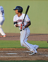 Infielder Adrian Sanchez (9) of the Potomac Nationals, a Washington Nationals affiliate, in a game against the Salem Red Sox on June 8, 2012, at Pfitzner Stadium in Woodbridge, Virginia. Sanchez is Washington's No. 28 prospect, According to Baseball America. Potomac won, 5-4. (Tom Priddy/Four Seam Images)