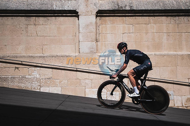 Ineos Grenadiers riders recon Stage 1 of La Vuelta d'Espana 2021, a 7.1km individual time trial around Burgos, Spain. 14th August 2021. <br /> Picture: Unipublic/Charly Lopez | Cyclefile<br /> <br /> All photos usage must carry mandatory copyright credit (© Cyclefile | Unipublic/Charly Lopez)