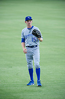 AZL Royals Isaiah Smith (15) warms up in the outfield prior to the game against the AZL Mariners on July 29, 2017 at Peoria Stadium in Peoria, Arizona. AZL Royals defeated the AZL Mariners 11-4. (Zachary Lucy/Four Seam Images)