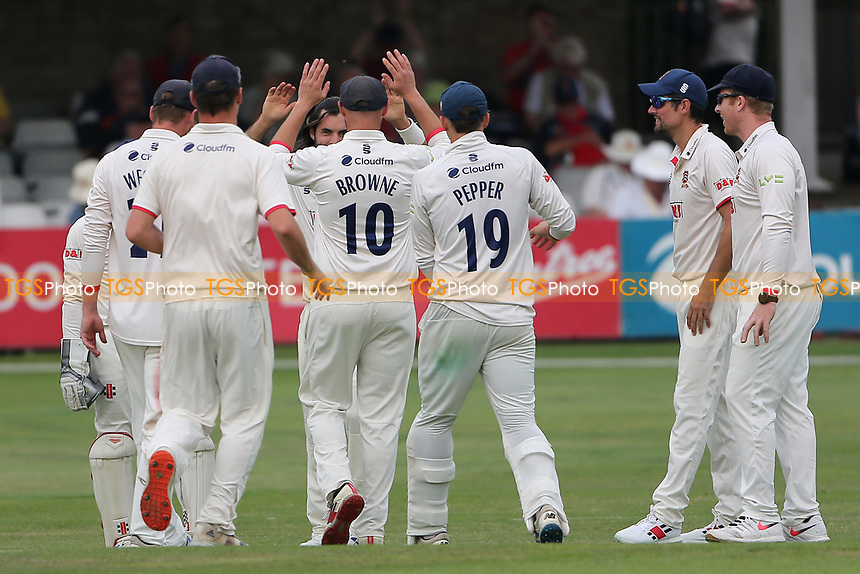 Shane Snater of Essex celebrates with his team mates after taking the wicket of Miles Hammond during Essex CCC vs Gloucestershire CCC, LV Insurance County Championship Division 2 Cricket at The Cloudfm County Ground on 6th September 2021