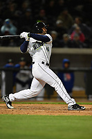Left fielder Tim Tebow (15) of the Columbia Fireflies bats in a game against the Augusta GreenJackets on Opening Day, Thursday, April 6, 2017, at Spirit Communications Park in Columbia, South Carolina. Columbia won, 14-7. (Tom Priddy/Four Seam Images)