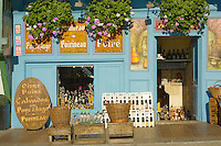 harbour side shot selling Normandy drink - Calvados. Cider -  Honfleur, Normandy, France.