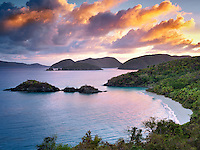 Trunk Bay sunrise. St. John, Virgin Islands National Park.