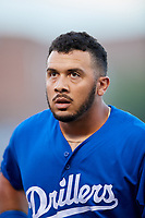 Tulsa Drillers designated hitter Edwin Rios (24) during a game against the Corpus Christi Hooks on June 3, 2017 at ONEOK Field in Tulsa, Oklahoma.  Corpus Christi defeated Tulsa 5-3.  (Mike Janes/Four Seam Images)