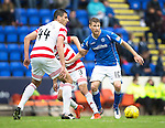 St Johnstone v Hamilton Accies...12.09.15  SPFL McDiarmid Park, Perth<br /> David Wotherspoon is closed down by Antons Kurakins and Lucas Tagliapietra<br /> Picture by Graeme Hart.<br /> Copyright Perthshire Picture Agency<br /> Tel: 01738 623350  Mobile: 07990 594431