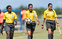 Bradenton, FL - Sunday, June 12, 2018: Referee prior to a U-17 Women's Championship 3rd place match between Canada and Haiti at IMG Academy. Canada defeated Haiti 2-1.